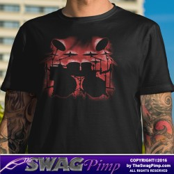 Red Glowing Drum Kit Musician T-Shirt