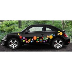 Retro Flowers Car Flurry Sticker Sheet