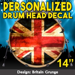 "Custom Bass Drum Head Decal for 14"" head"
