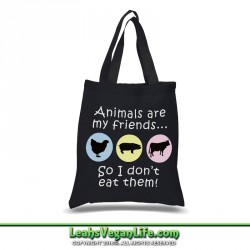 Animals Don't Equal Food Vegan Canvas Tote Bag - 100% Cotton