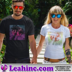 Grunge Palm Tree Beach T-Shirt
